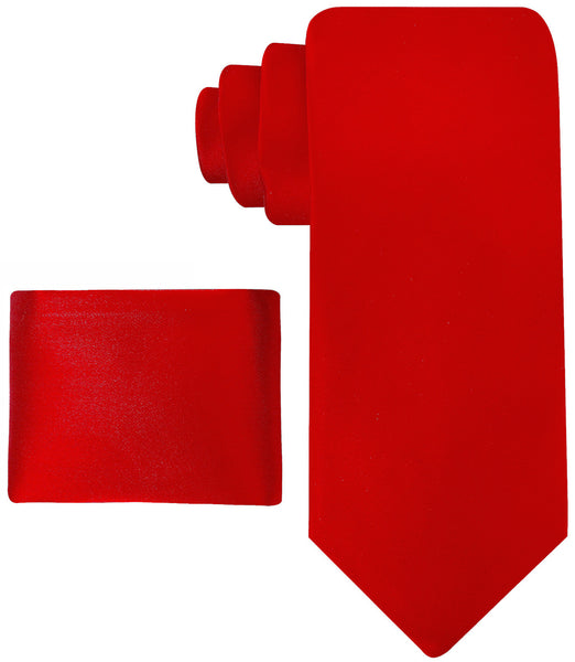 100% Silk Solid Red Necktie Set - Scott Allan Collection