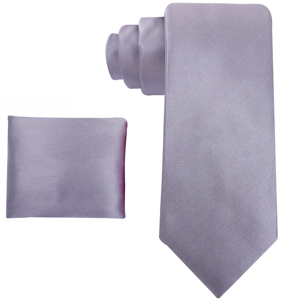 100% Silk Solid Necktie Set in Gray