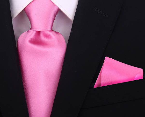100% Silk Solid Necktie Set in Pink - Scott Allan Collection