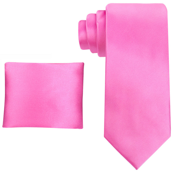 100% Silk Solid Necktie Set in Pink