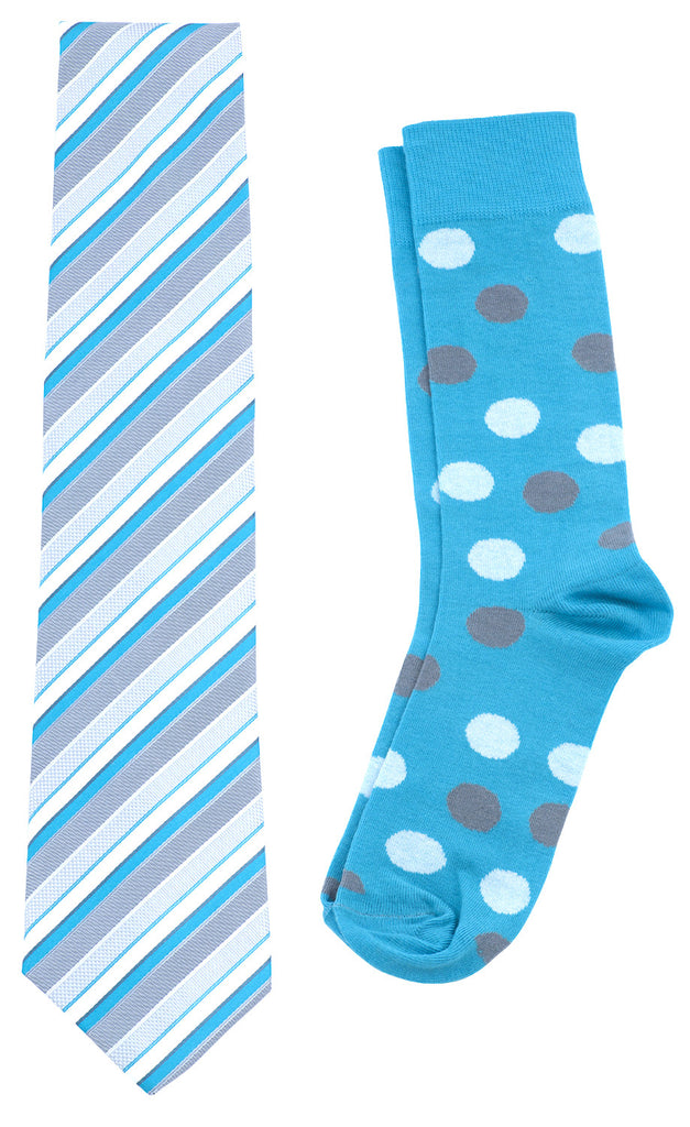 Necktie and Dress Sock Set (Turquoise & Gray) - Scott Allan Collection