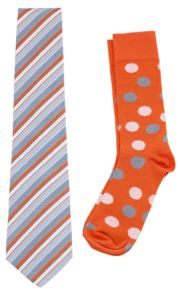 Necktie and Dress Sock Set (Orange & Gray)