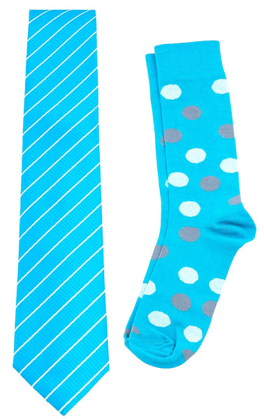 Necktie and Dress Sock Set (Turquoise & White)