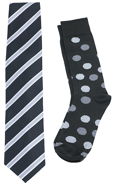 Necktie and Dress Sock Set (Black / Silver)