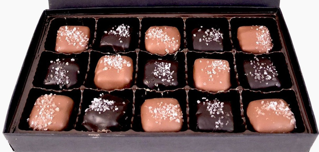 15pc Sea Salt Caramels milk ~ dark
