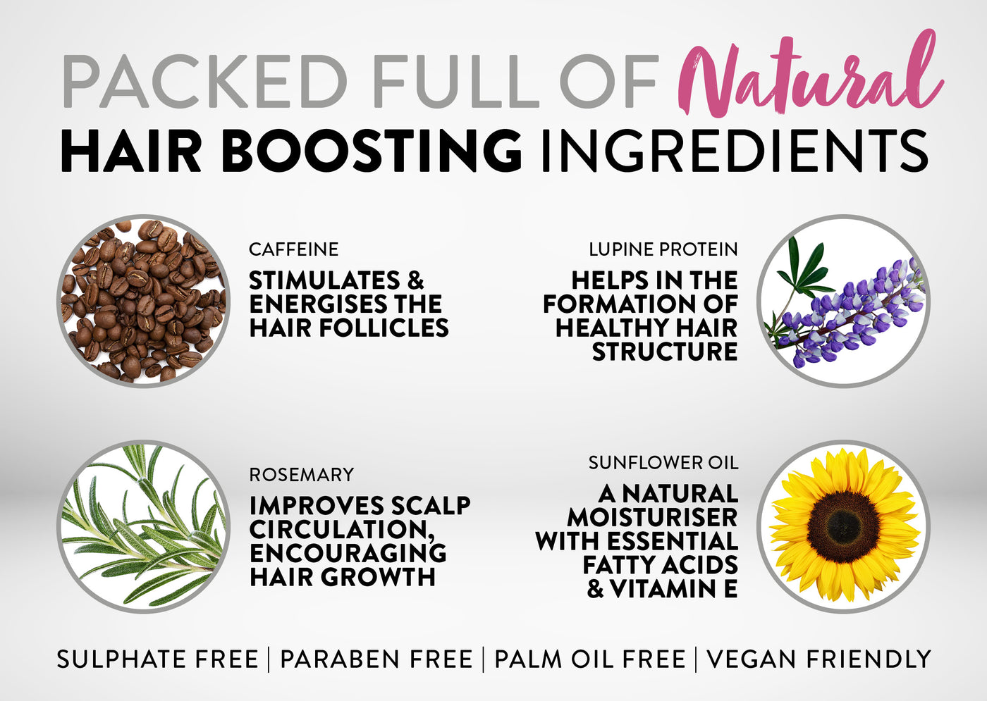 Packed full of Natural Hair boosting Ingredients