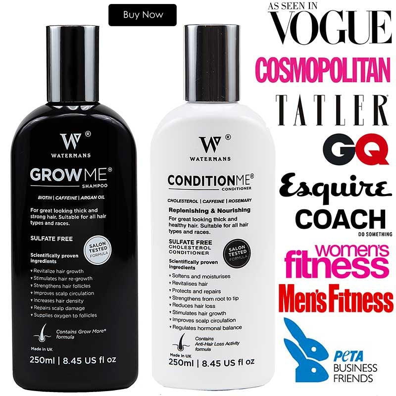 image of hair growth shampoo and conditioner bottles