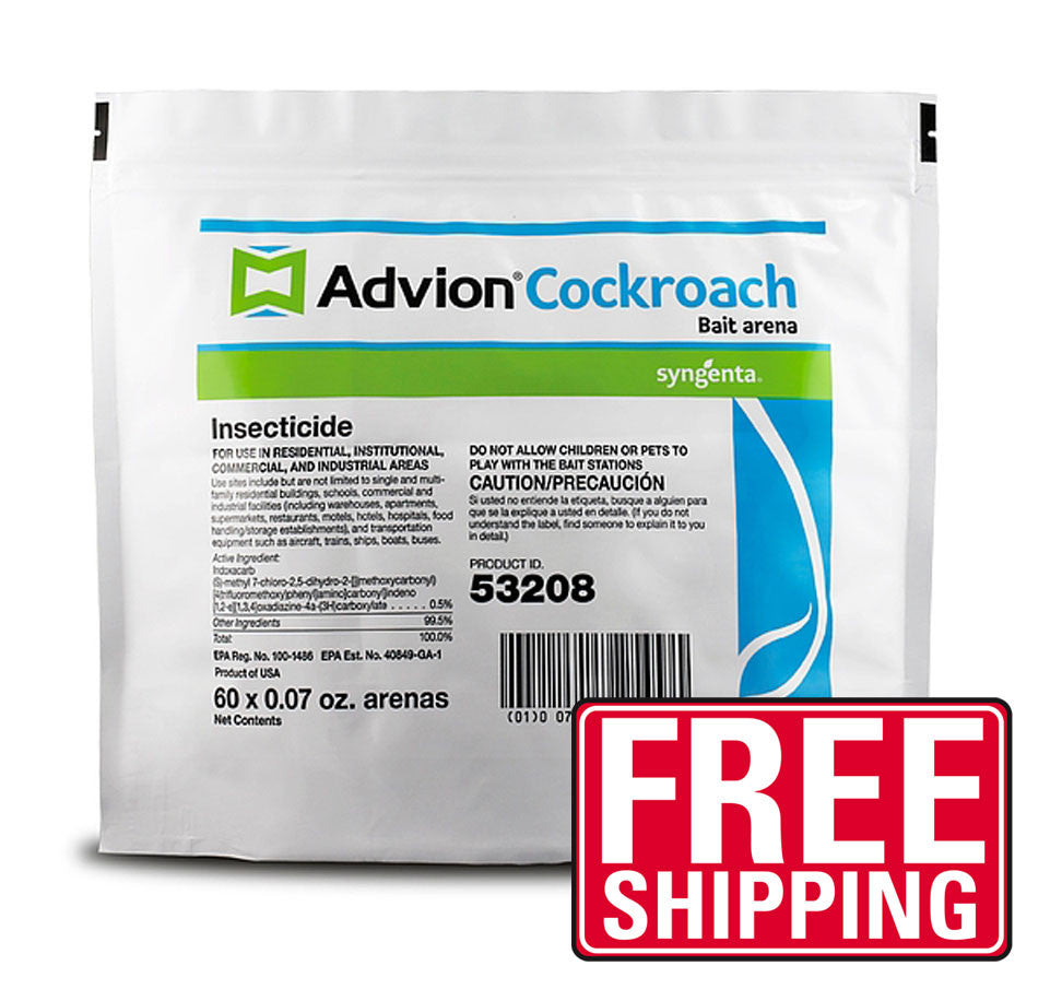 Dupont Advion cockroach bait arena can be used to control roach populations indoors and outdoors with the active ingredient indoxacarb, an insecticide that acts through ingestion by cockroaches. Foraging roaches ingest the indoxacarb in the Roach Bait Arenas and spread the ingredient to other roaches where they hide. Each bag contains 60 stations. Adhesive backs are included so that the stations can be mounted on surfaces such as the corners and sidewalls of cabinets.