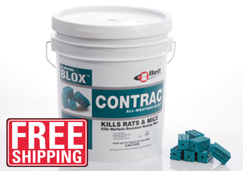 Contrac All-weather Blox Rodenticide is a multi-edged, single feeding Rat and Mouse bait. It is formulated with an optimal blend of food grade ingredients and low wax to yield a highly palatable, weatherable bait that is very attractive to rodents. Secondary poisoning is very minimal with Contrac as an antidote to the poison (vitamin K1) is readily available.