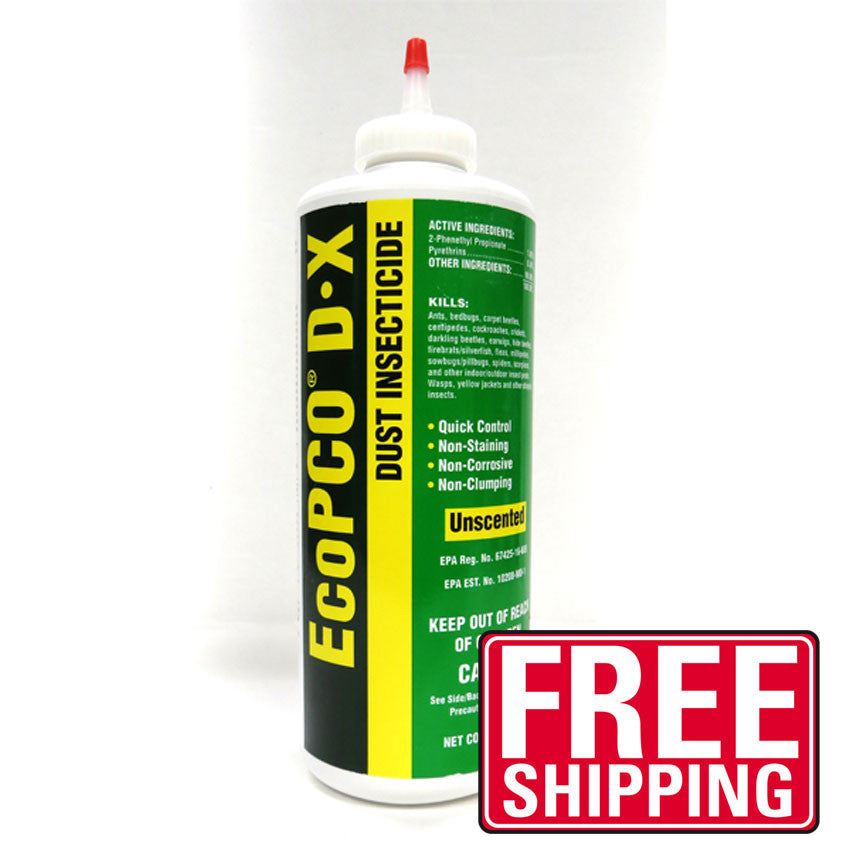 Eco PCO D-X dust is an all-natural organic insecticide dust that is versatile and ready-to-use. Unlike many other organic dusts, Eco PCO D-X is unscented, non-staining, non-clumping and water-resistant. It provides a quick knockdown and kill of insect pests and leaves a long lasting residual. Eco PCO DX works on ants, bed bugs, carpet beetles, centipedes, fleas, silverfish, scorpions, spiders and more.  Can be used both indoors and outdoors.