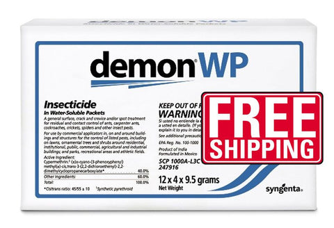 Demon WP is an excellent professional insecticide that's perfect for crack and crevice and/or spot applications for residual and contact control of Ants, Carpenter Ants, Cockroaches, Crickets, Spiders and many other insect pests. Demon WP can be purchased as either an envelope of four water-soluble packets (shown here) or a Demon WP 1 lb. jar (equal to 12 envelopes of Demon) with a scooper for easily making up to 48  gallons of solution. Demon should be applied with a sprayer.