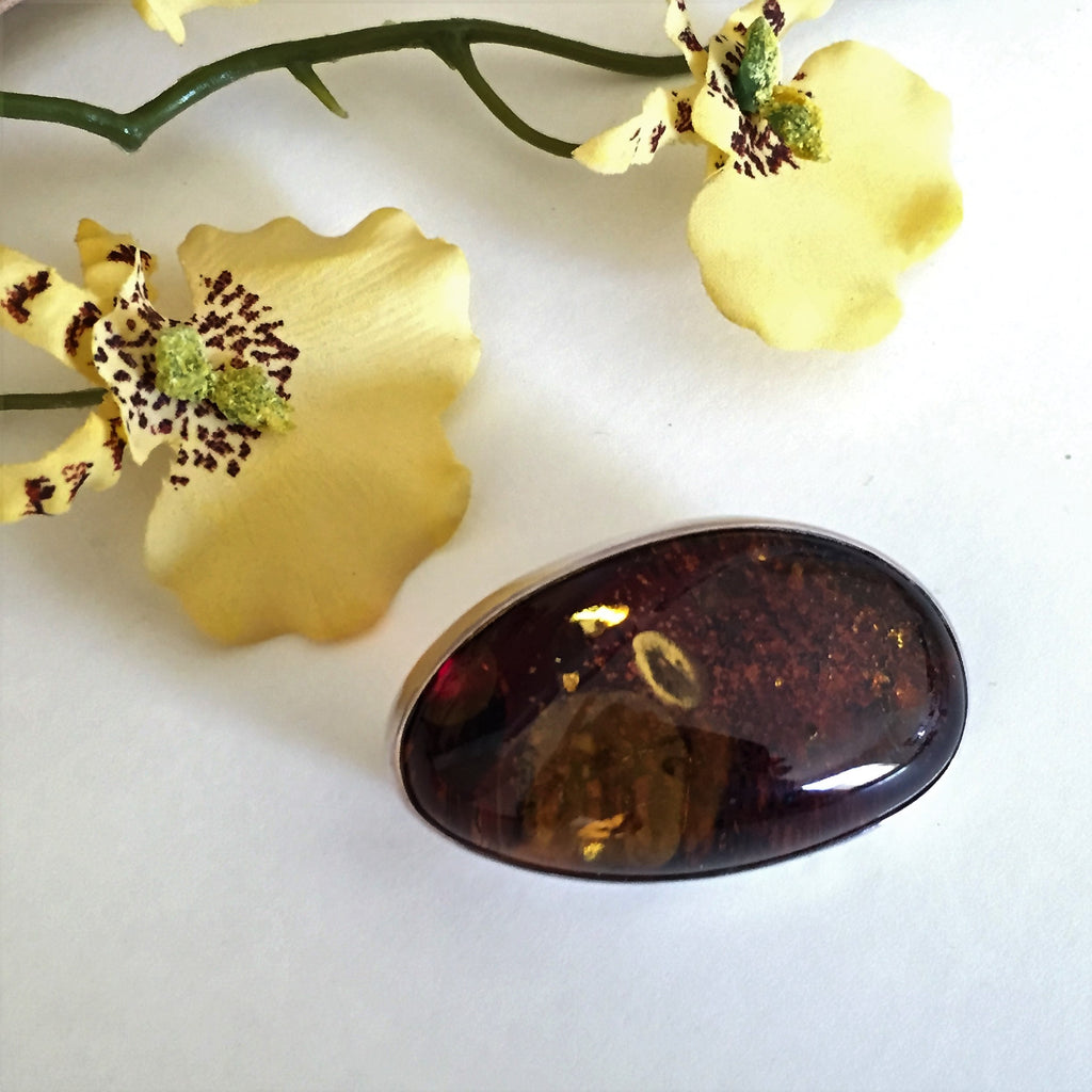 Amber Molasses Brooch - VABH102