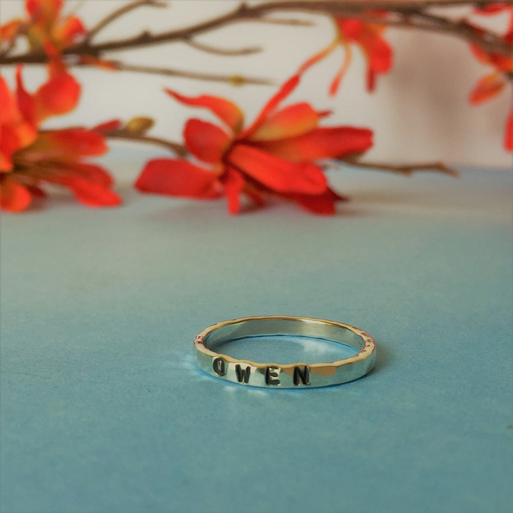Personalised Hammered Band Ring - SR1829