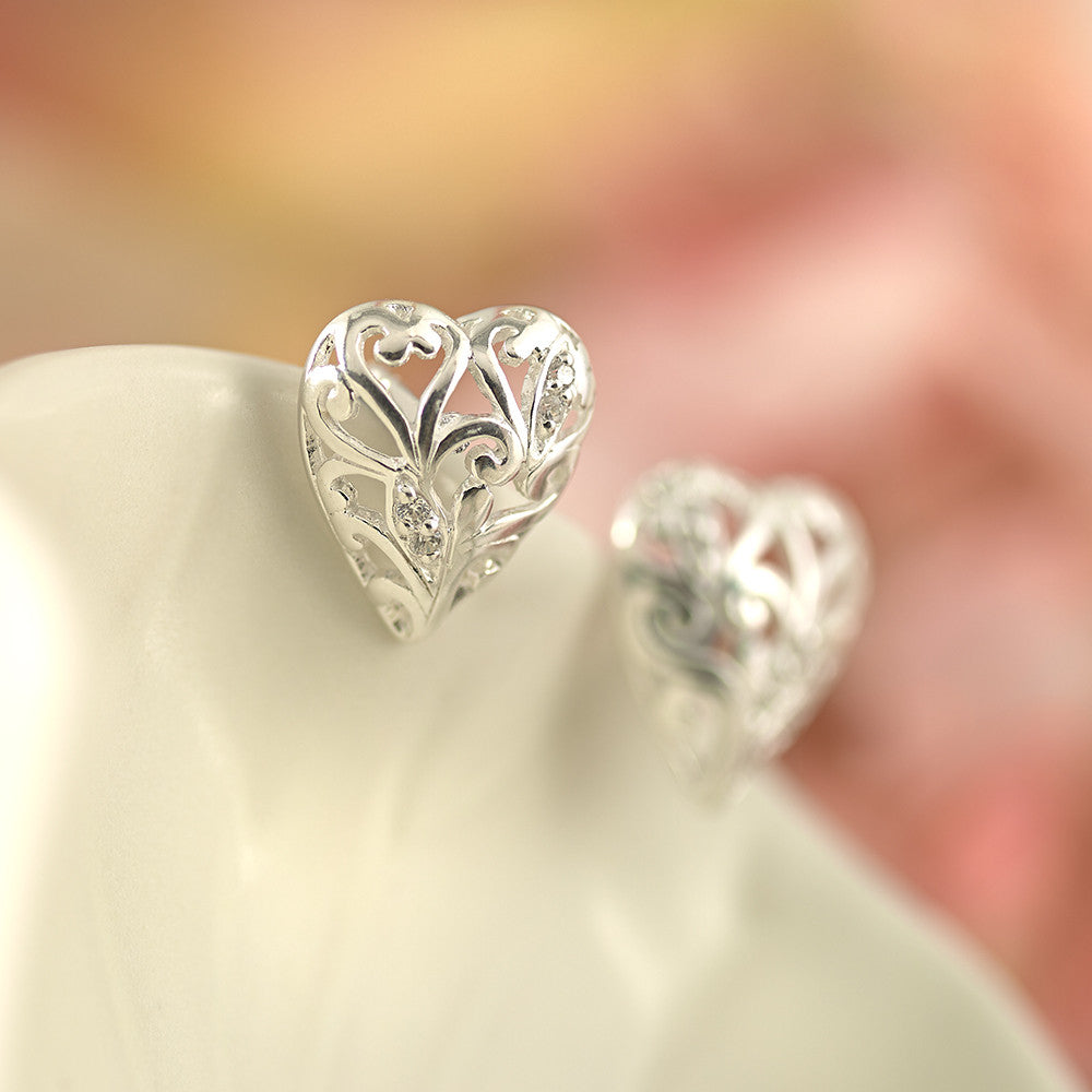 Heart Sparkle Stud Earrings - SE1617