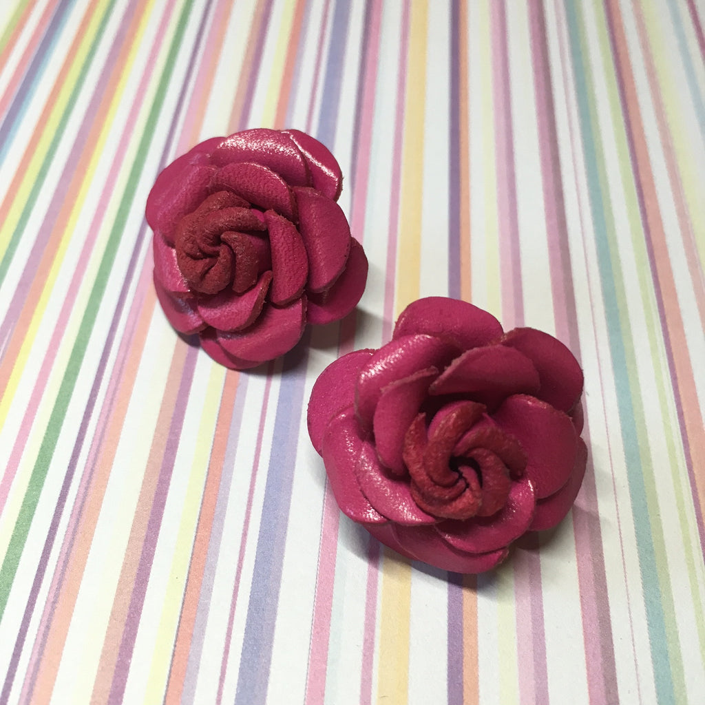 Leather Flower Earrings - VFE101