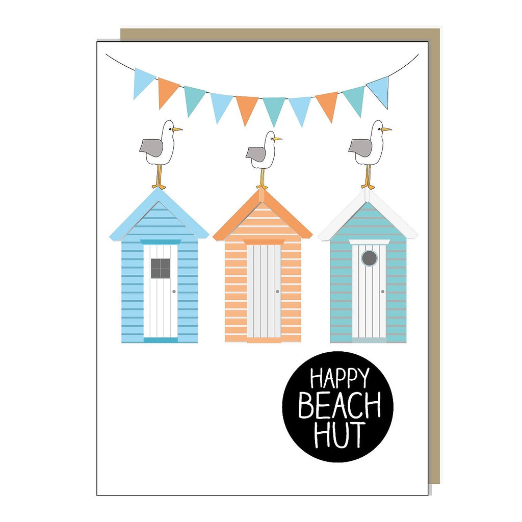 Happy Beach Hut Greetings Card
