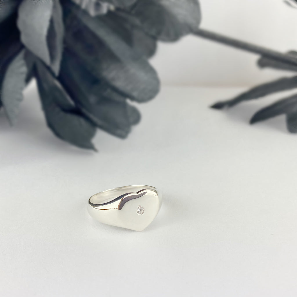 Silver Heart Signet Ring - SR2078