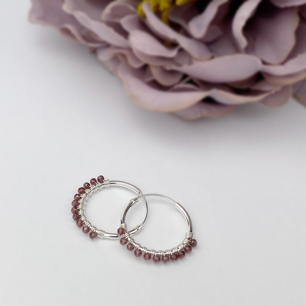 Garnet Hoop Earrings - VE597