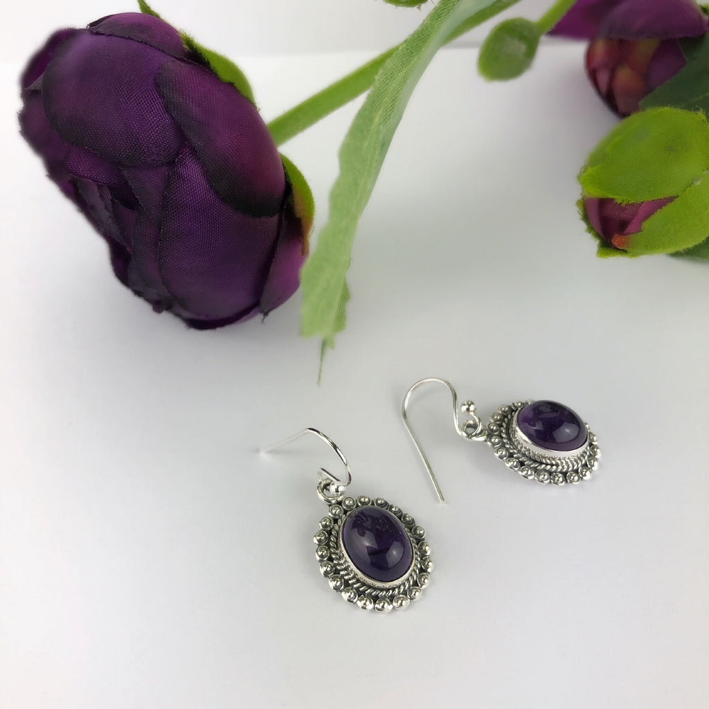 Amethyst Flower Earrings - VE477