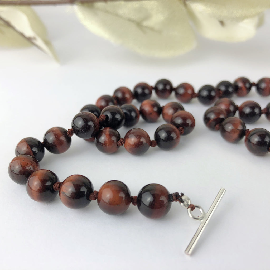 Red Tigers Eye Bead Necklace - VNKL227