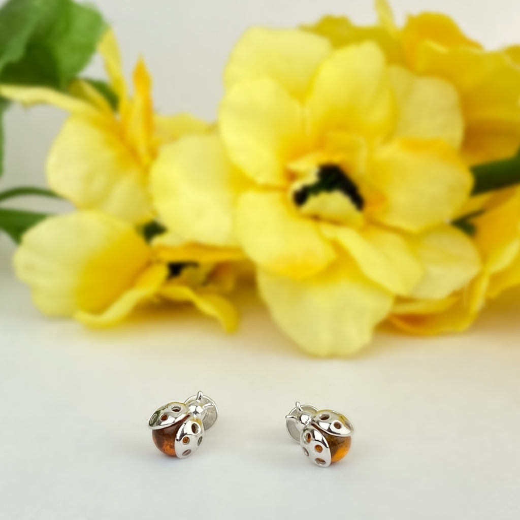 Golden Ladybird Stud Earrings - VE642