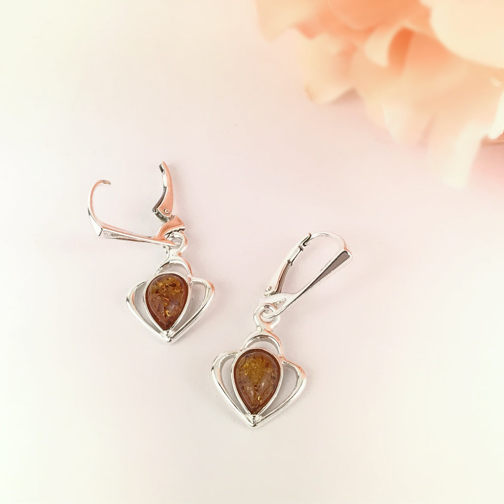 Amber Heart Earrings - VE621
