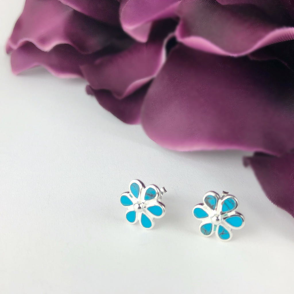 Blue Daisy Earrings - VE582