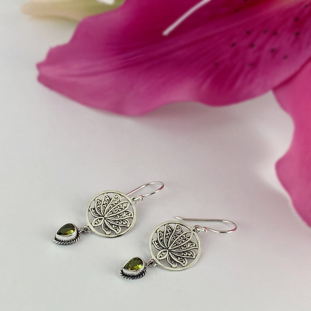 Green Lotus Earrings - VE245