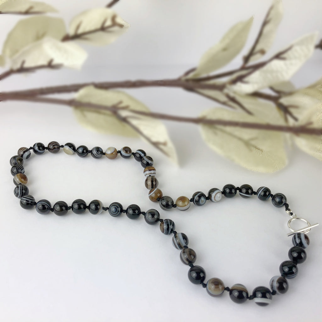 BlackEye Agate Bead Necklace - VNKL228
