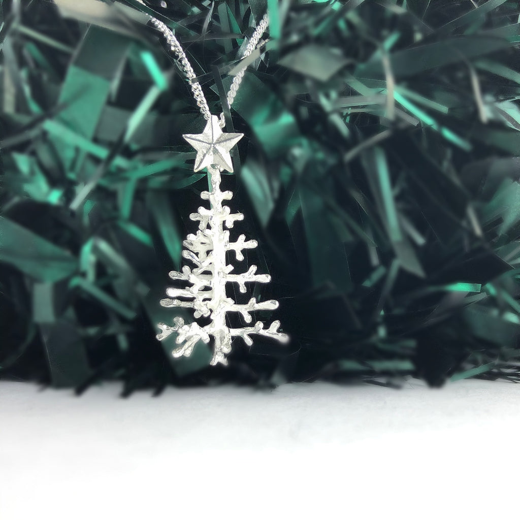 Silver Christmas Tree Pendant - SP2724