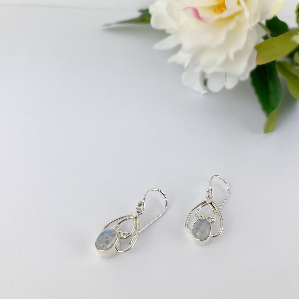 Moonstone Heart Earrings - VE619RMS