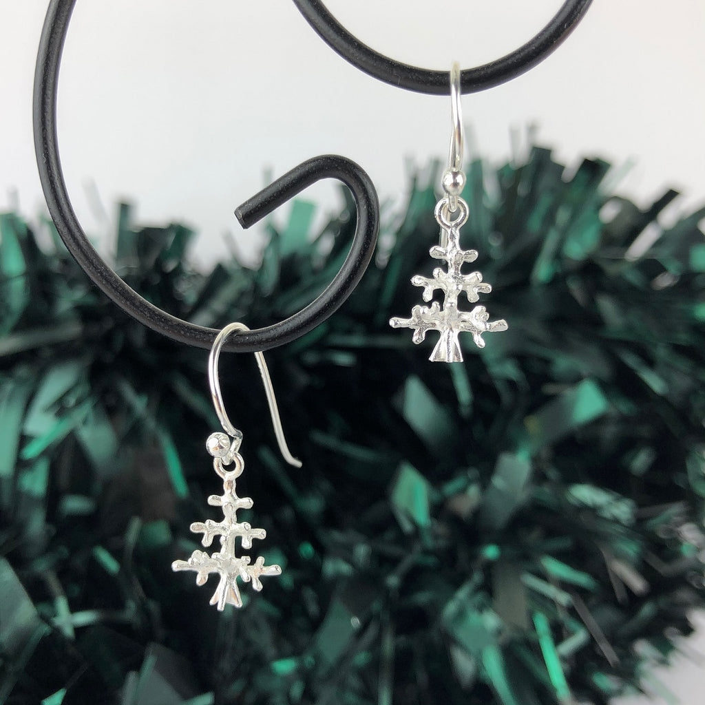 Silver Christmas Tree Earrings - SE4702