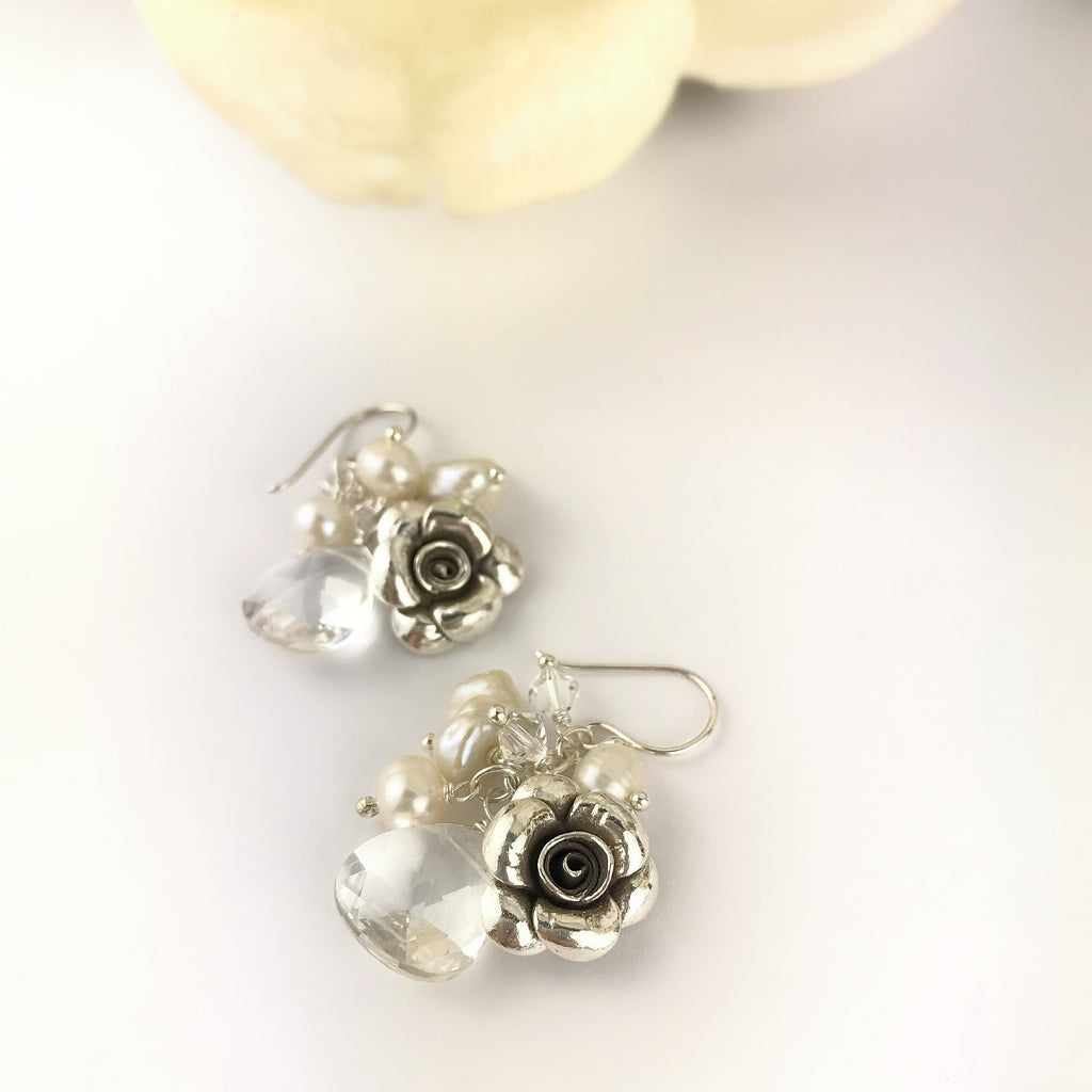 Paradise Rose Earrings (Pearl) - VE567