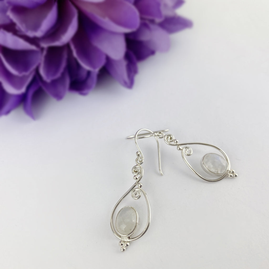 Moonstone Swirl Earrings - VE236