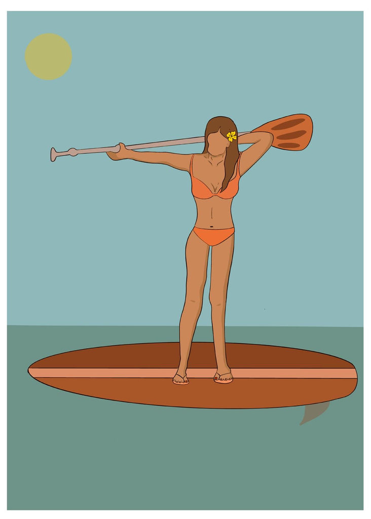 Paddleboard Girl Greetings Card - EN06