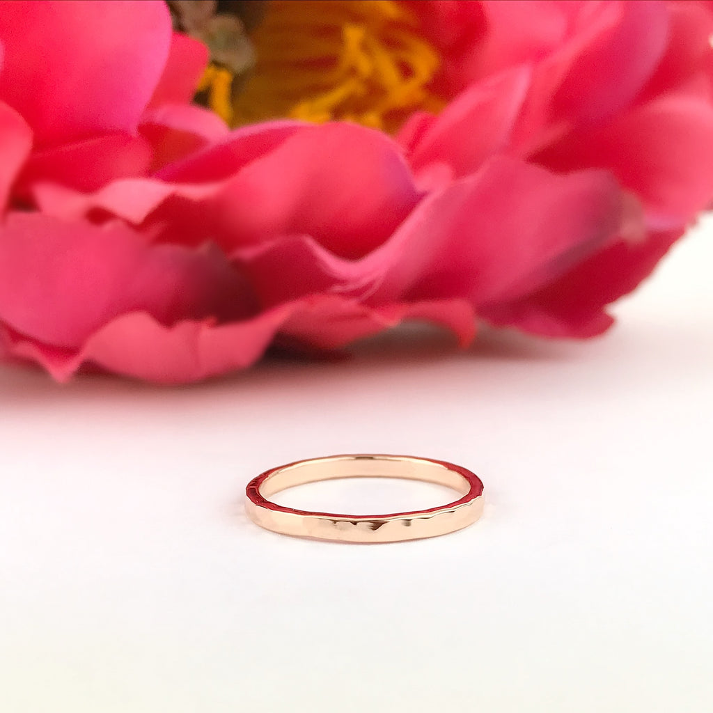 Rose Gold Hammered Band Ring - SR1881
