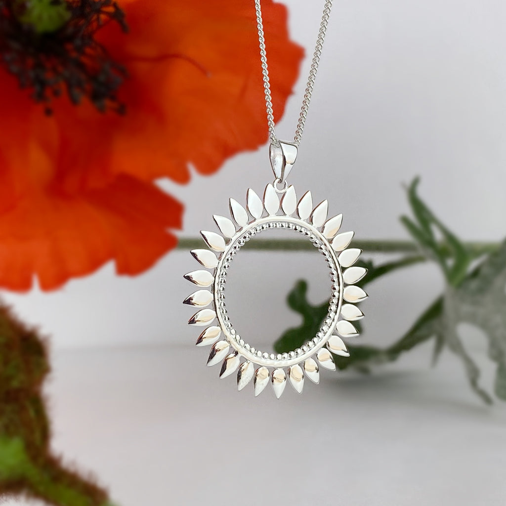 Silver Sunflower Pendant - VP384