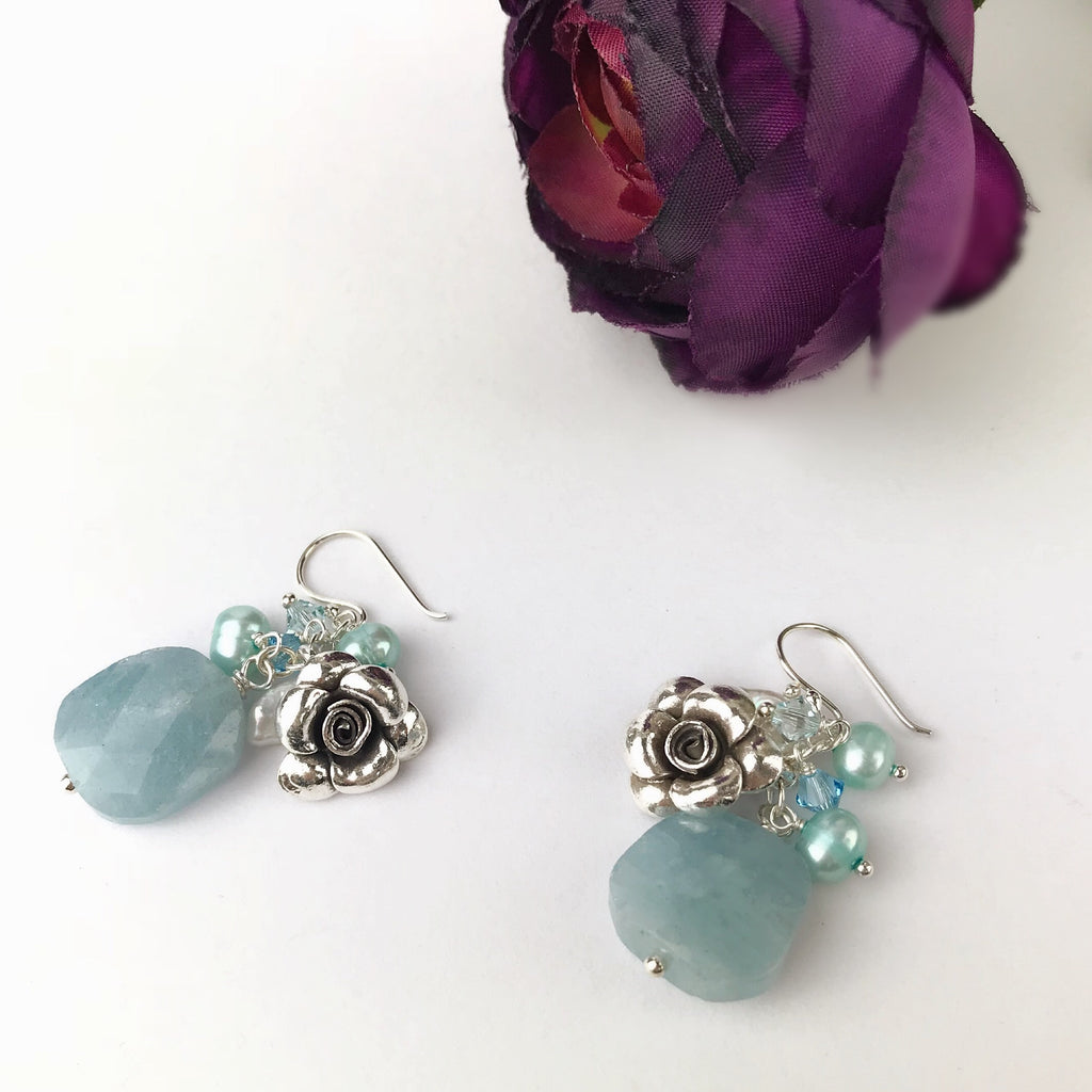 Paradise Rose Earrings (Aqua) Earrings - VE445