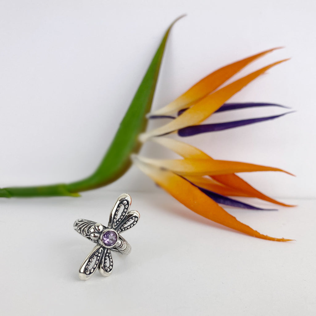 Amethyst Dragonfly Ring - VR439
