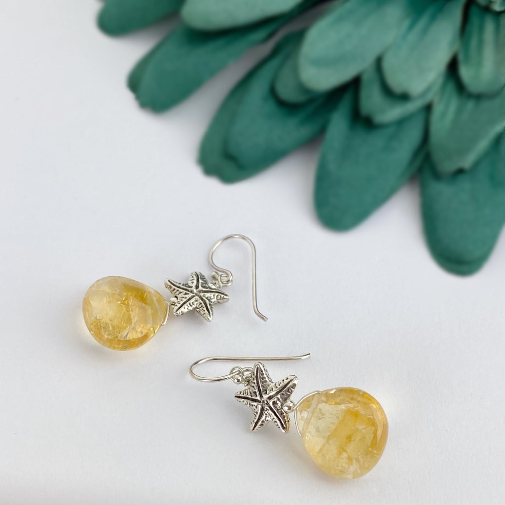 Citrine Starfish Earrings - VE242