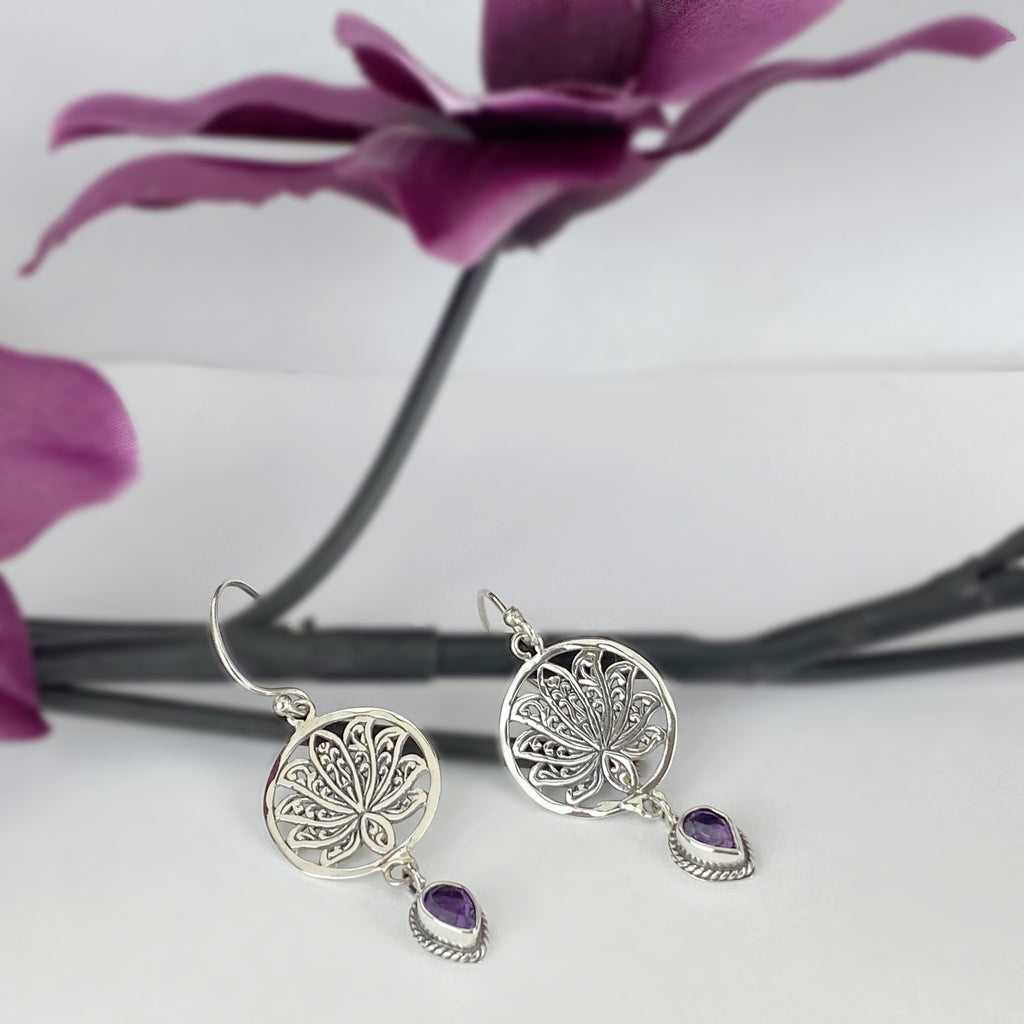 Purple Lotus Earrings - VE555
