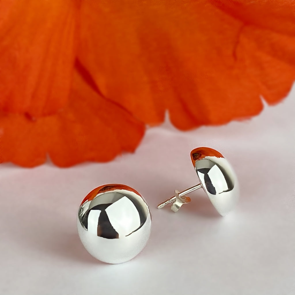 Silver Dome Earrings - VE553