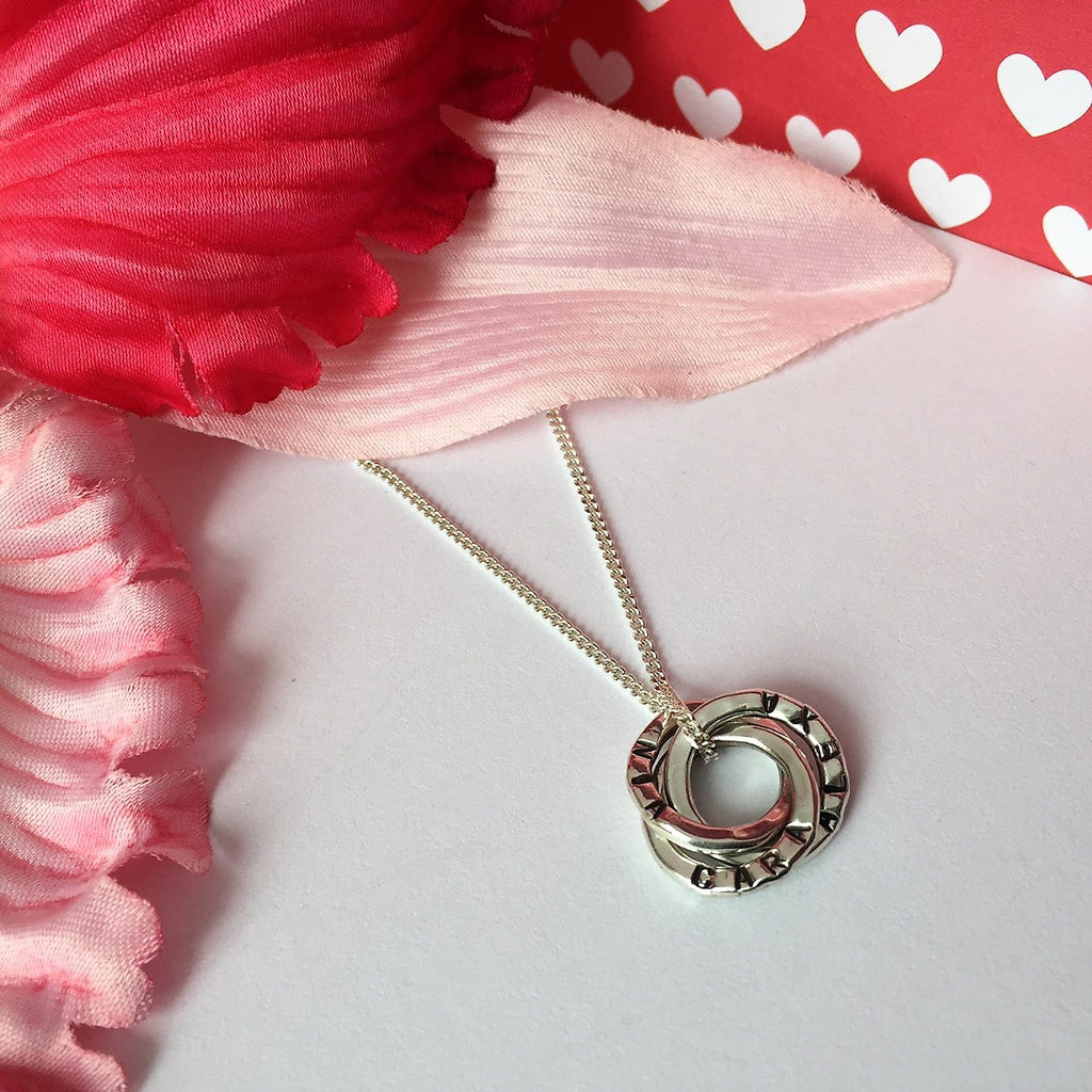 Personalised Mini Russian Rings Pendant - SPP2509