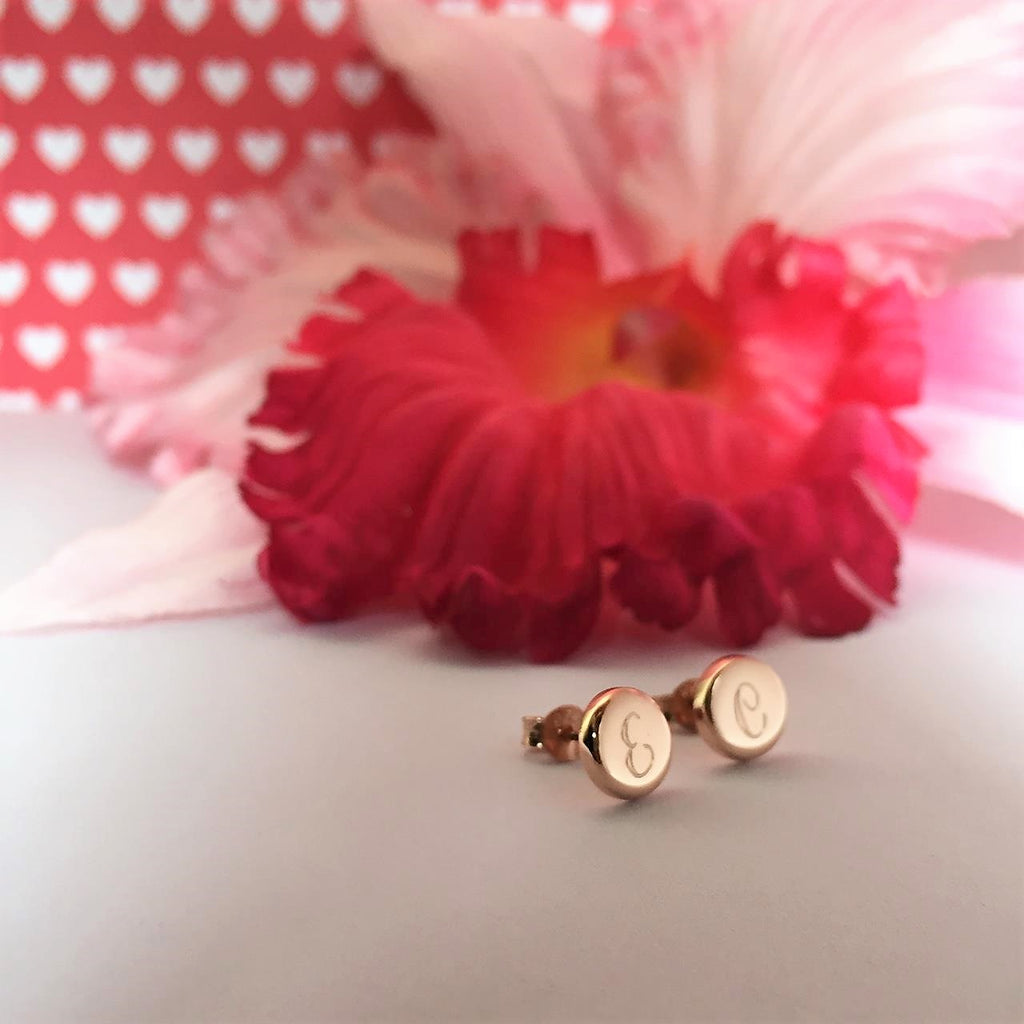 Personalised Rose Gold Disc Studs - SE4150