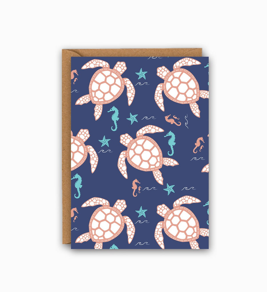 Turtles And Seahorses Greeting Card
