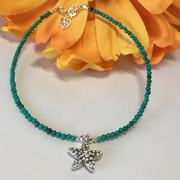 Turquoise Starfish Anklet - VANK113
