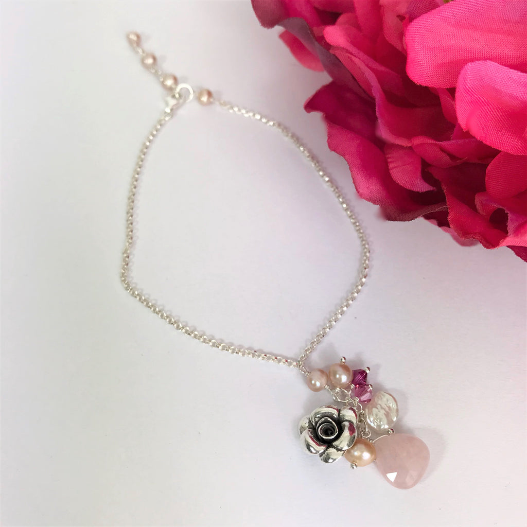 Paradise Rose Anklet (Pink) - VANK129