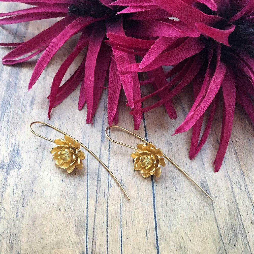 Golden Lotus Earrings - VE163