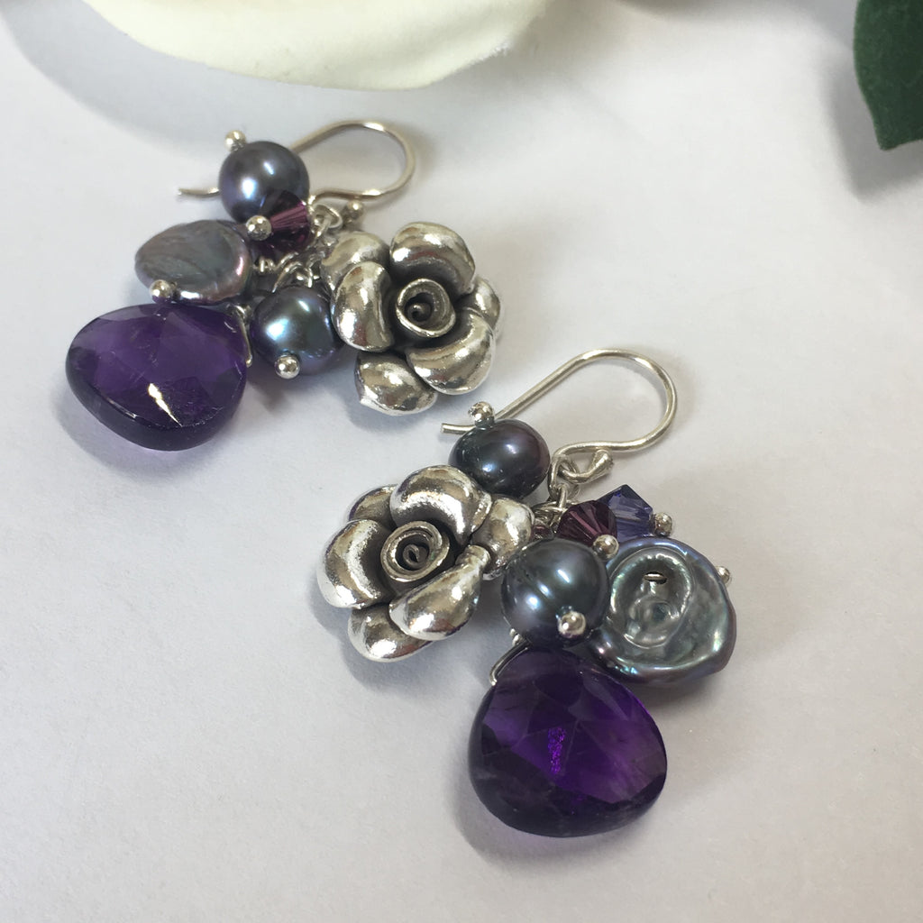Amethyst Bouquet Earrings - VE310