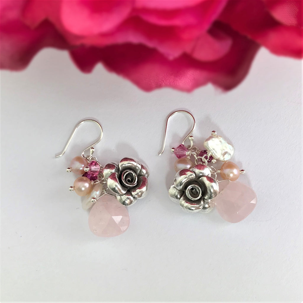 Paradise Rose Earrings (Pink) - VE381